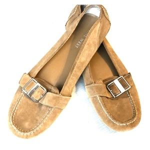 Tan suede driving shoes with silver buckle, 11 M